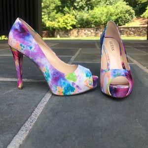 Guess colorful platform heels